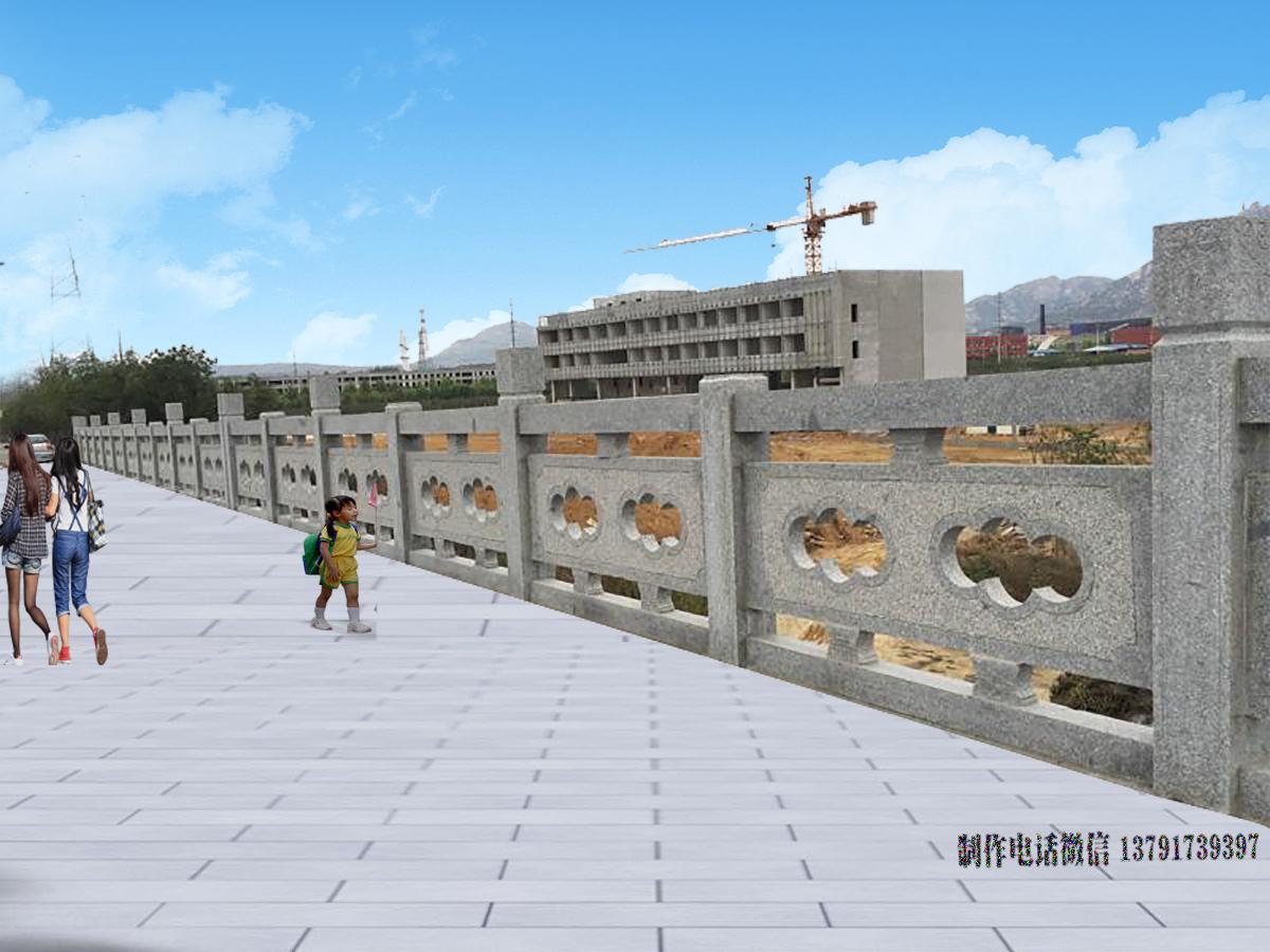 经典河边桥梁花岗岩镂空石栏杆雕刻图片