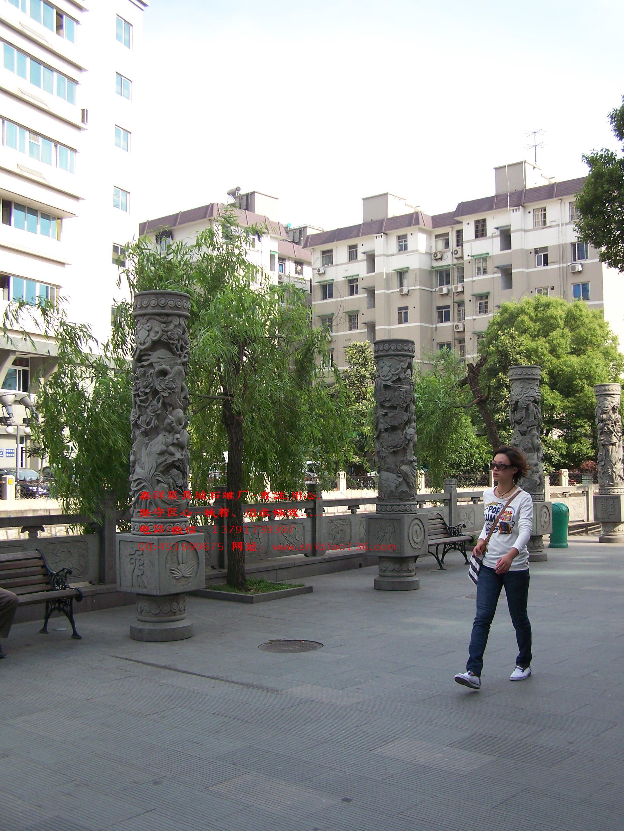 十二生肖文化柱雕刻图片