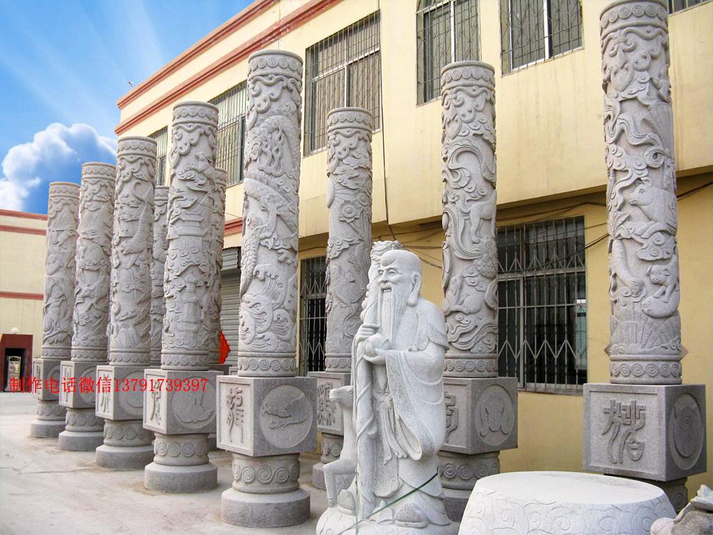 十二生肖柱图片十二生肖浮雕柱