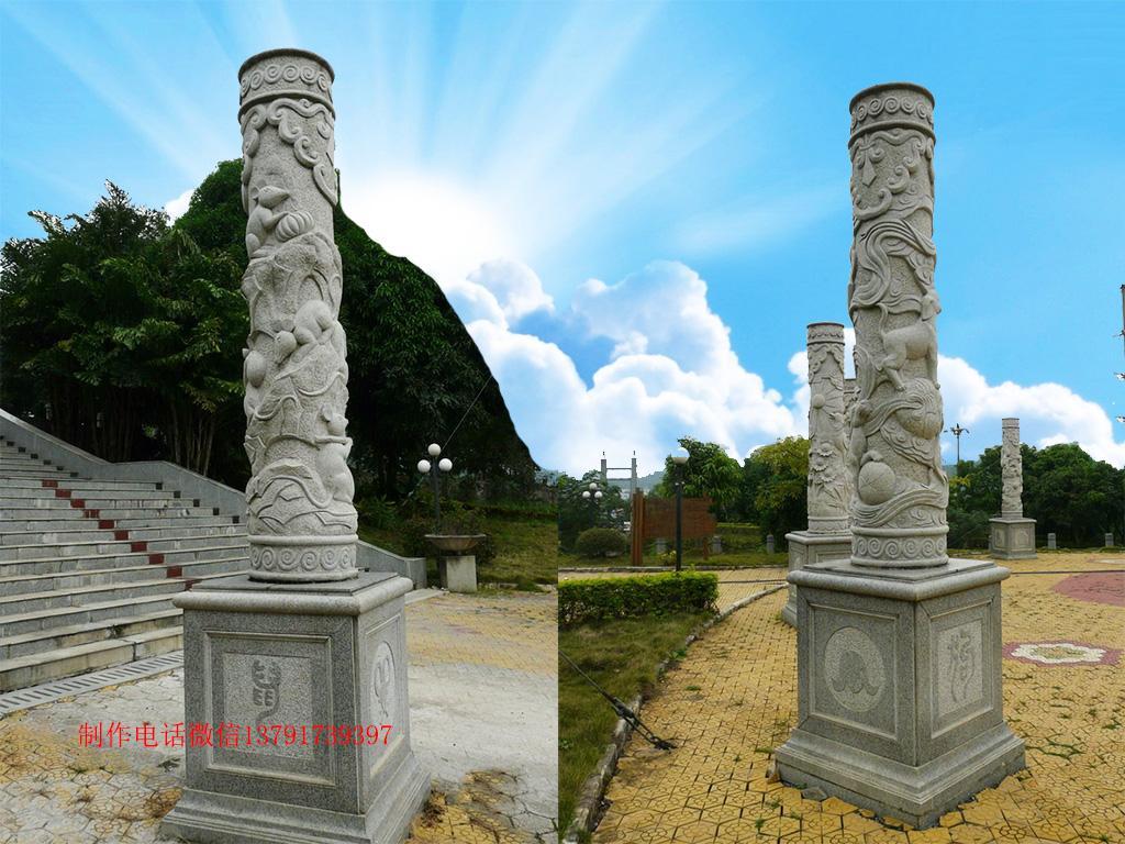 十二生肖浮雕柱图片